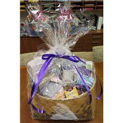 Gift Basket: Microfleece Blanket, Towel Set (2 hand towels and 2 washcloths), Slippers, Sleep Eye Ma
