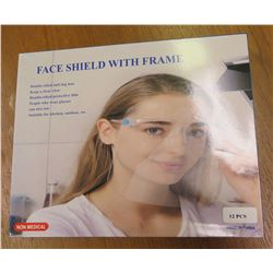 Qty 12 Pcs in Box Face Shields with Frame