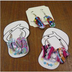 Qty 2 Pair Slipper Hook Earrings & 1 Pair Aloha Shirt Earrings
