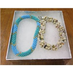 Qty 2 Multi-Strand Shell Necklaces - Blue & Tan Shells