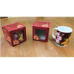Qty 2 Hibiscus Flower Mugs in Gift Box
