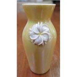 Yellow Vase w/ White Ceramic Flower Accent