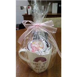 Coffee Basket: Gift Coffee Mug 'Wake Up & Be Awesome', $10 Starbucks Gift Card, and Loose leafe tea