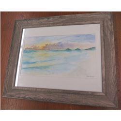 """Wood Framed Landscape Art, Signed by Artist 'John Lennon' 14""""x18"""""""
