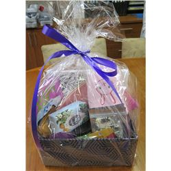 Gift Basket: Adult Coloring Book, Slippers, Sleep Eye Mask, Spa Face Mask x4, Cloth Face Mask x2, Zi