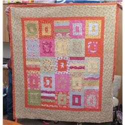 "Large Handmade Orange Floral Hawaiian Quilt, size 74"" x 67"""