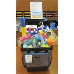 Just Add Water Gift Basket:  1 Giant Pizza Floatie, 2 Small Floaties, 1 Child Life Jacket, 2 Pairs o