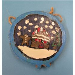 """4"""" Round Painted Wood Holiday Christmas Tree Ornament"""