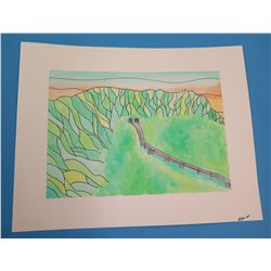 """Landscape Artwork Signed by Artist 'Liya'  12""""x9"""""""