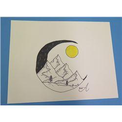 "Landscape Artwork Signed by Artist 'A' 2006  8.5""x11"""