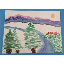 """Landscape Artwork Signed by Artist 'R.L.  8.5""""x11"""""""