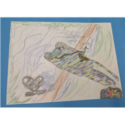 "Child's Drawing Airplane Artwork  8.5""x11"""