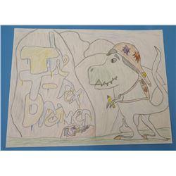 "Child's Drawing Dinosaur Artwork  8.5""x11"""