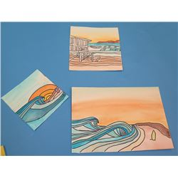 "Qty 3 Landscape Artwork Beach Scenes  4""x4"", 5.75""x5.75"", and 9""x6"""