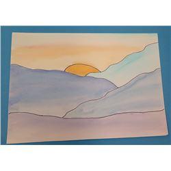 """Landscape Artwork Sunset Scene  9""""x6.5"""""""