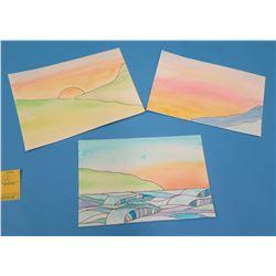 "Qty 3 Landscape Artwork Beach Scenes 9""x6.5"""