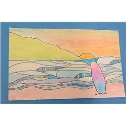 "Landscape Artwork Sunset Beach Scene 9""x6.5"""
