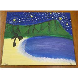 "Landscape Artwork Evening Beach Scene Signed by Artist 'KB' 10/28/20 16""x20"""