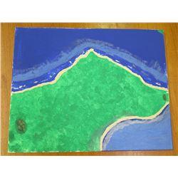 "Landscape Artwork Beach Map Scene  16""x20"""
