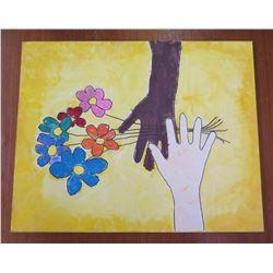 "Flowers w/ 2 Black & White Hands Artwork  16""x20"""