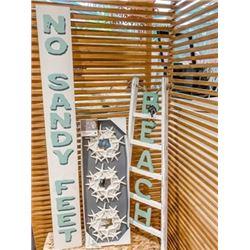 Beach Décor 3 piece Set: 'No Sandy Feet ' Sign, Starfish Mirrors, Beach Ladder