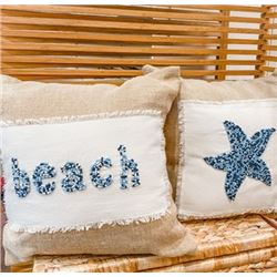 "Set of 2 Beaded Ocean-Inspired Throw Pillows: ""Beach"" & Starfish"