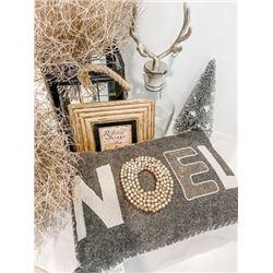 Christmas Décor Package Set: Noel Pillow, Black Hurricane, Glass Reindeer, Silver Tree, Frame, etc