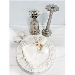 Dining Beach Décor Set for 6: Starfish Plates, Cloth Napkins, Napkin Holders, Candlesticks, etc