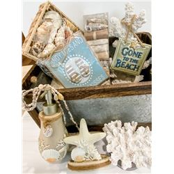 Ocean Inspired Bath Décor: Tin Basket, Coral-Like Accent Decor, Shells, Potpourri, Garland, etc