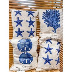 Beach Blue Décor Set: 4 Bold Printed Pillow Throws, Value 120.00