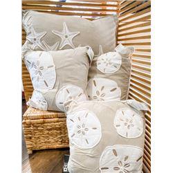 Beachy Decor Set: 4 -Textured Printed Pillow Throws (various sizes), Value 120.00