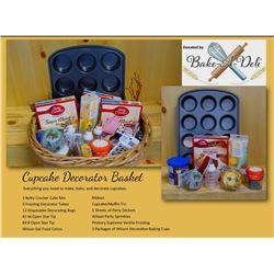 Cupcake Decorator Basket - Everything you need to make, bake, and decorate cupcakes.