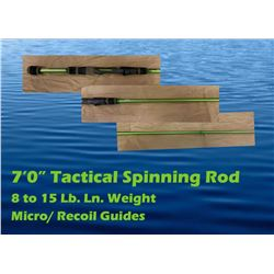 """7'0"""" Tactical Spinning Rod, 8 to 15 Lb. Ln. Weight, Micro/ Recoil Guides"""