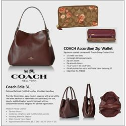 Coach Edie 31 Oxblood Refined Pebbled Leather Shoulder Handbag - Genuine pebbled leather Double hand