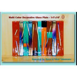 "Large Multi Color Decorative Glass Plate - 14""x10"""