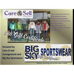 $50 Gift Certificate for Big Sky Sportswear & $20 Gift Certificate for Care-O-Sell Consignment