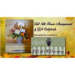 Fall Silk Flower Arrangement & $25 off a $50 purchase Gift Certificate