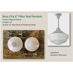 """Two Rejuvenation Rose City 6"""" Fitter Rod Pendants/Chrome with 16"""" opal glass shade"""