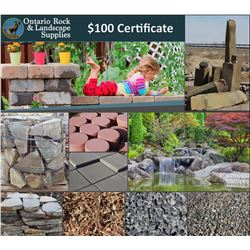 $100 Certificate to use at Ontario Rock & Landscape Supplies