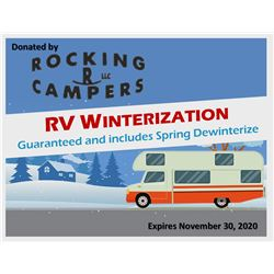 Certificate for one free RV Winterization. Guaranteed and includes a Spring Dewinterize. Expires 11/