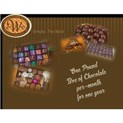 One Pound Box of Chocolate per-month for one year