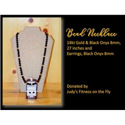 Bead Necklace 14kt Gold & Black Onyx 8mm, 27 inches and Earrings, Black Onyx 8mm
