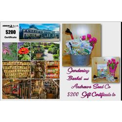 Gardening Basket with $200 Gift Certificate to Andrews Seed Co.