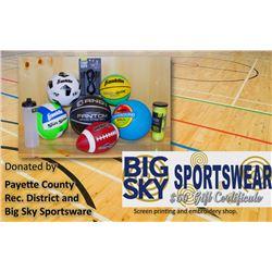Set of Sports Balls & Big Sky $50 Certificate