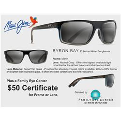 Maui Jim - Byron Bay Polarized Wrap Sunglasses and $50 Family Eye Center Certificate good for frame
