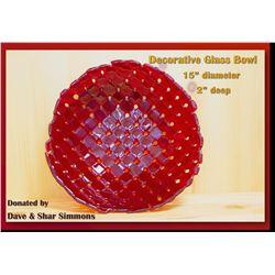 "Large Decorative Glass Bowl - 15"" diameter, 2"" deep"