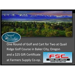 One Round of Golf & Cart for 2 at Quail Ridge and a Framers Supply Co-op $25 Gift Certificate