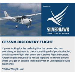 Cessna Discovery Flight with a Silverhawk Certified Flight Instructor. Airplane flights include a 45