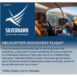 Helicopter Discovery Flight a Certified Silverhawk Flight Instructor. Helicopter flights include a 3