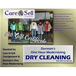Dorman's $25 Gift Certificate & Care-O-Sell $20 Gift Certificate